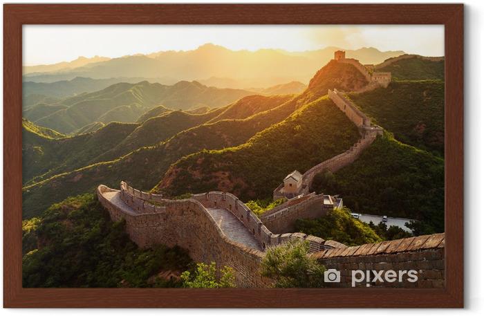 Gerahmtes Poster Chinesische Mauer unter Sonnenschein bei Sonnenuntergang - Denkmäler
