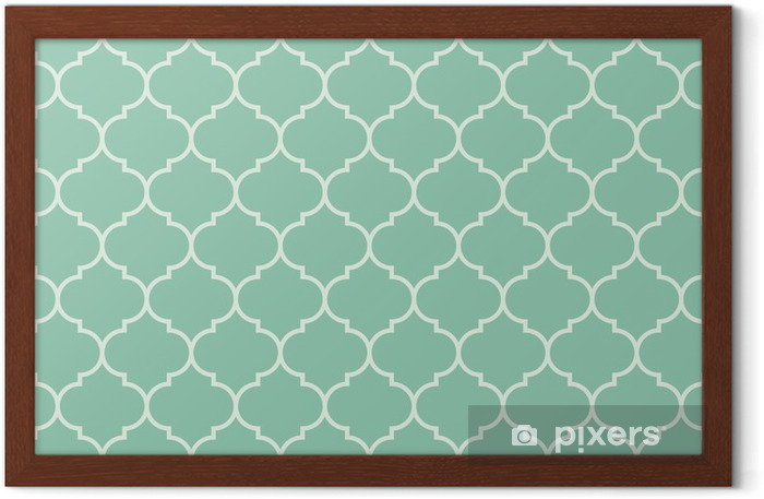 Seamless turquoise wide moroccan pattern vector Framed Picture -