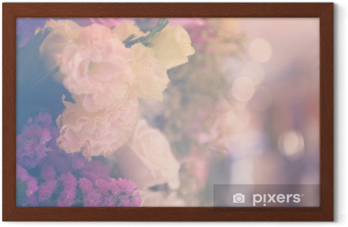 Vintage carnetion and rose flower bouquet soft background Framed Poster - Plants and Flowers