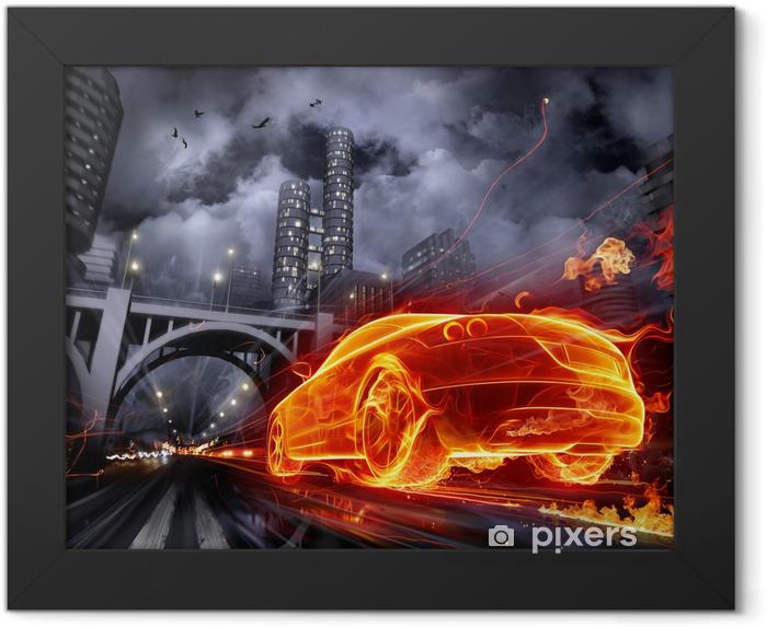 Plakat w ramie Pożar samochodu -