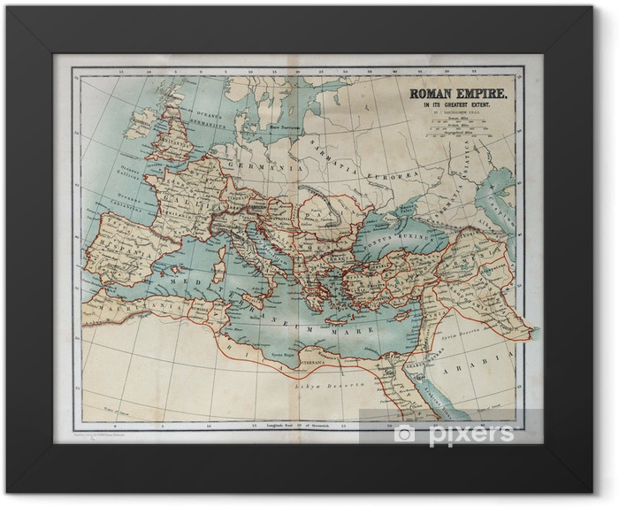 Old map of the Roman Empire, 1870 Framed Poster - Themes