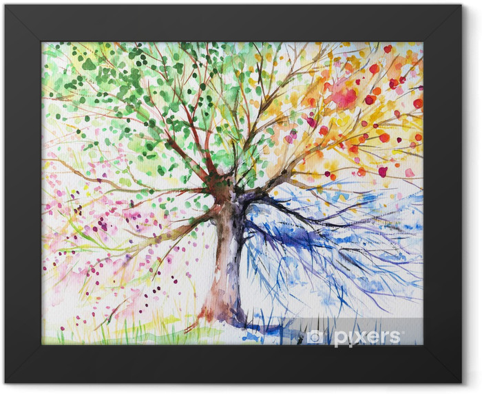 Four seasons tree Framed Poster -
