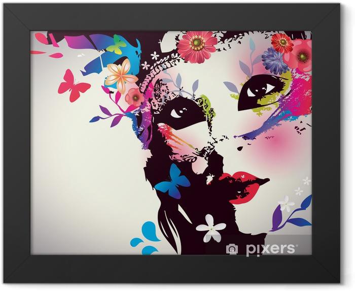 Plakat w ramie Dziewczyna z maską / ilustracji wektorowych - Moda