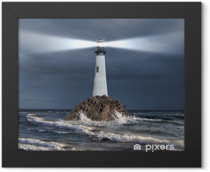 Plakat w ramie Latarnia z promienia światła - Latarnia morska