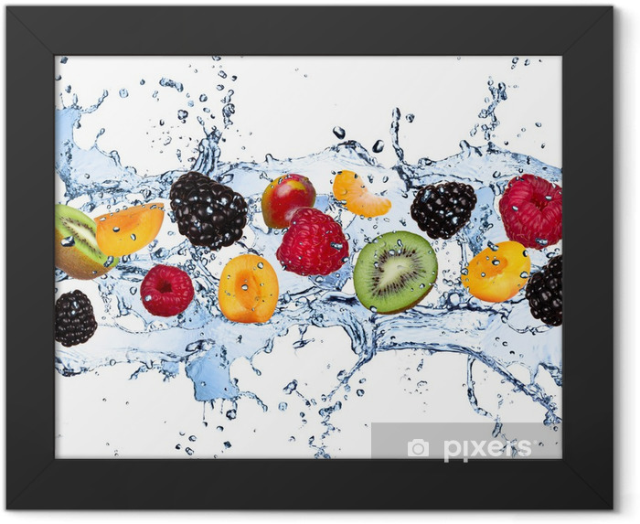 Fresh fruits in water splash, isolated on white background Framed Poster - Raspberries