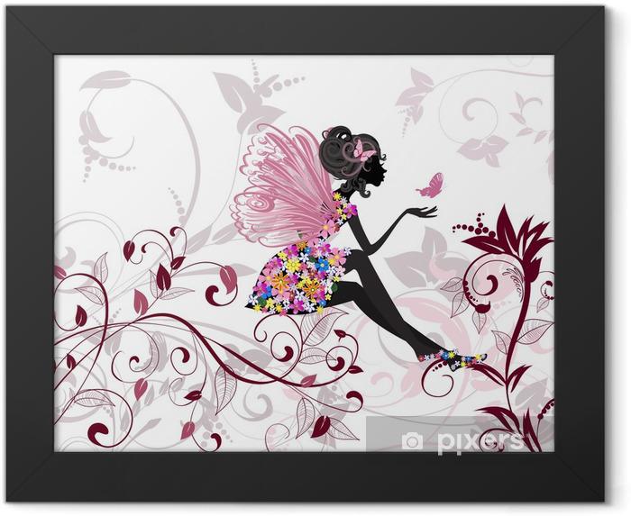 Poster en cadre Fée de fleur avec papillons -