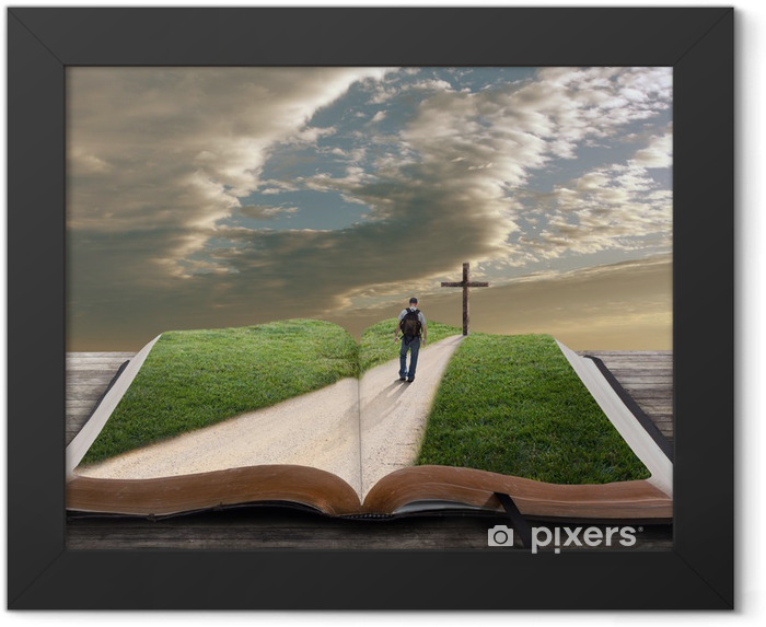 Open bible with man and cross Framed Poster - Monuments
