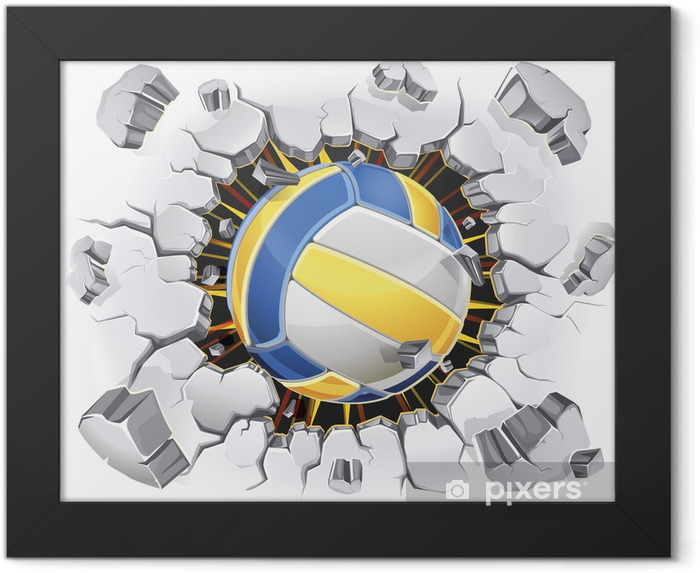 Volleyball and Old Plaster wall damage. Vector illustration Framed Poster - Volleyball