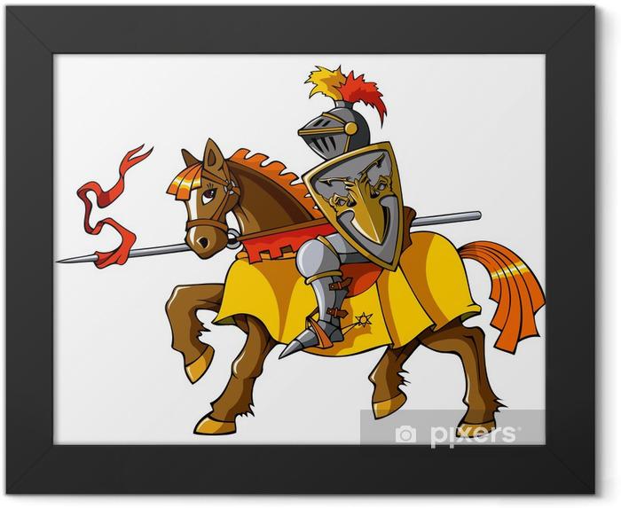 Medieval knight on horseback, vector Framed Poster - Knights