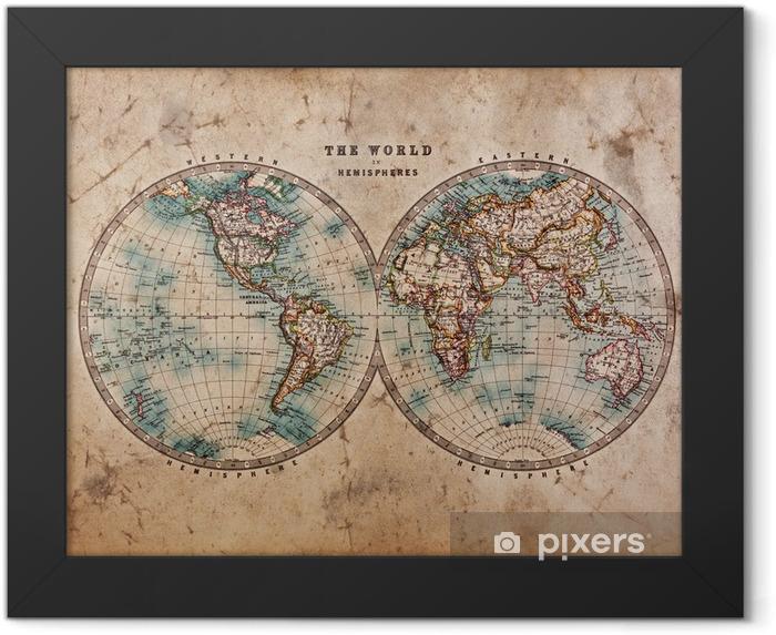 Poster en cadre Carte de Vieux Monde dans les hémisphères - Thèmes