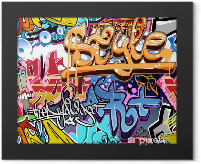 Poster en cadre Mur de graffiti. Urban fond de vecteur de l'art. Texture transparente - Thèmes