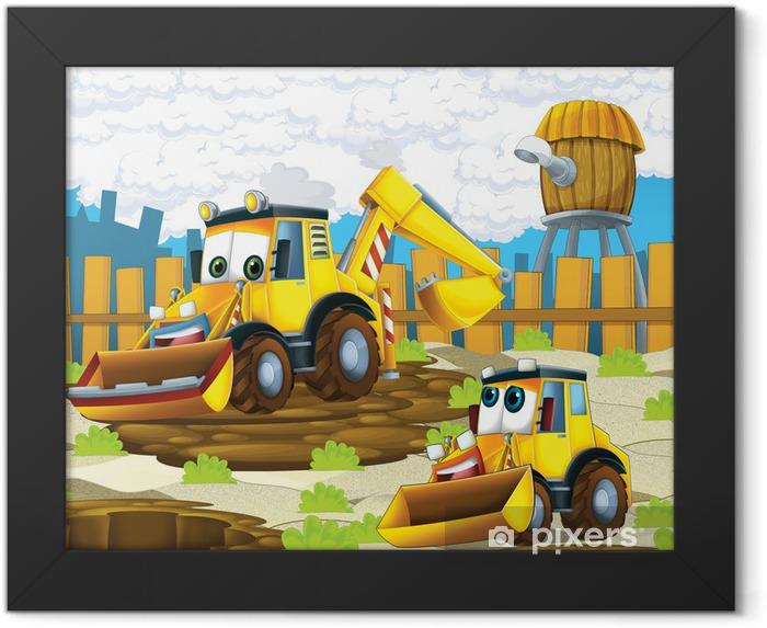 Plakat w ramie Koparka cartoon - ilustracja dla dzieci - iStaging