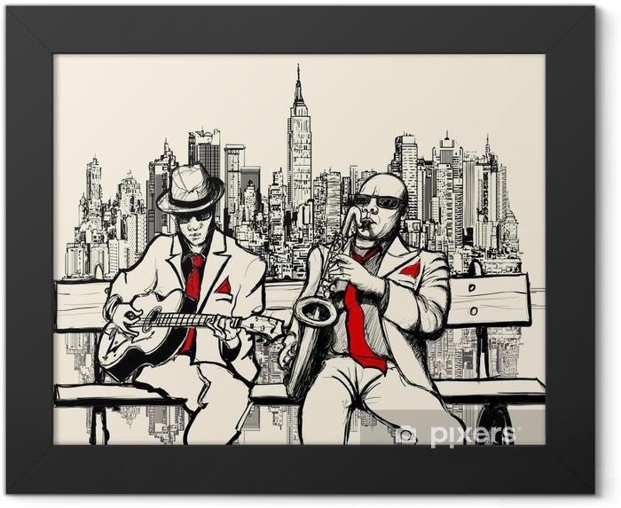 Plakat w ramie Dwaj mężczyźni jazzowych grających w Nowym Jorku - Jazz