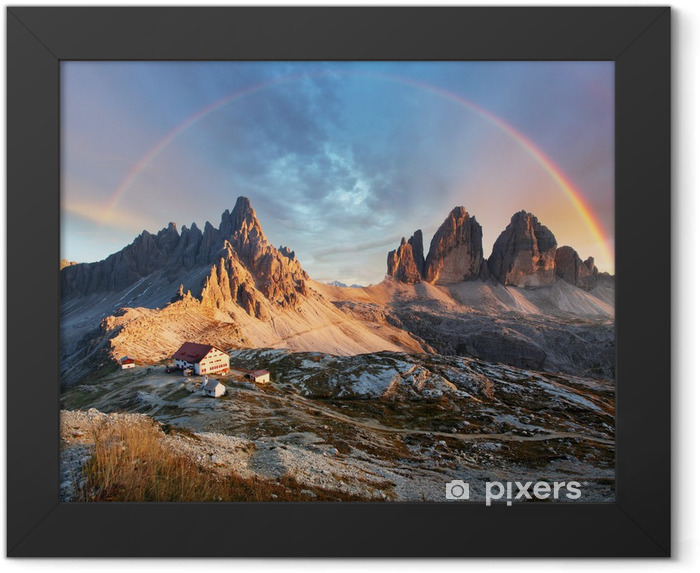 Dolomites mountain in Italy at sunset - Tre Cime di Lavaredo Framed Poster - Rainbows