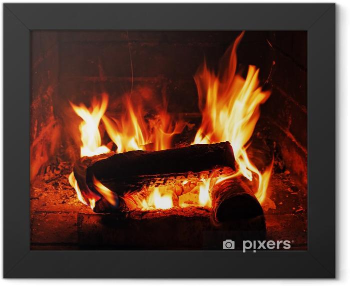 Poster en cadre Cheminée avec bois de bouleau et de la flamme. - Cheminée