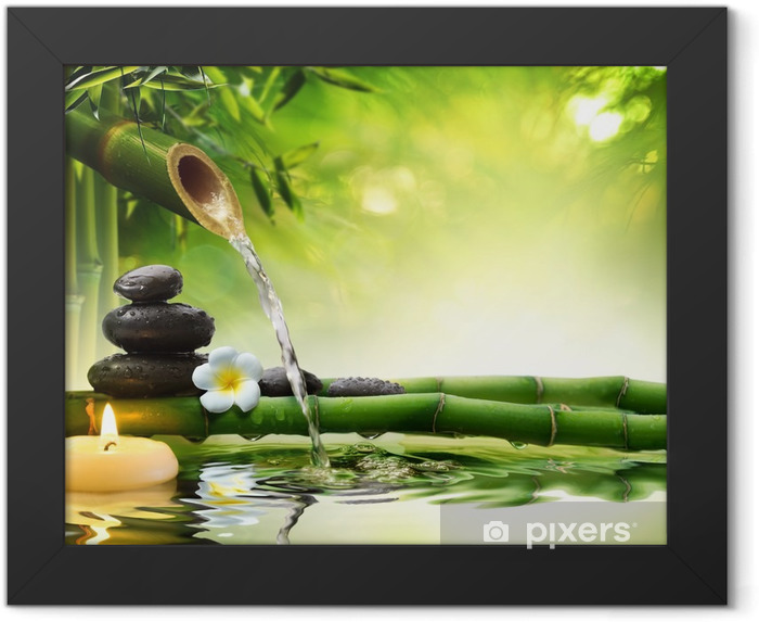 spa stones in garden with flow water Framed Poster - Styles
