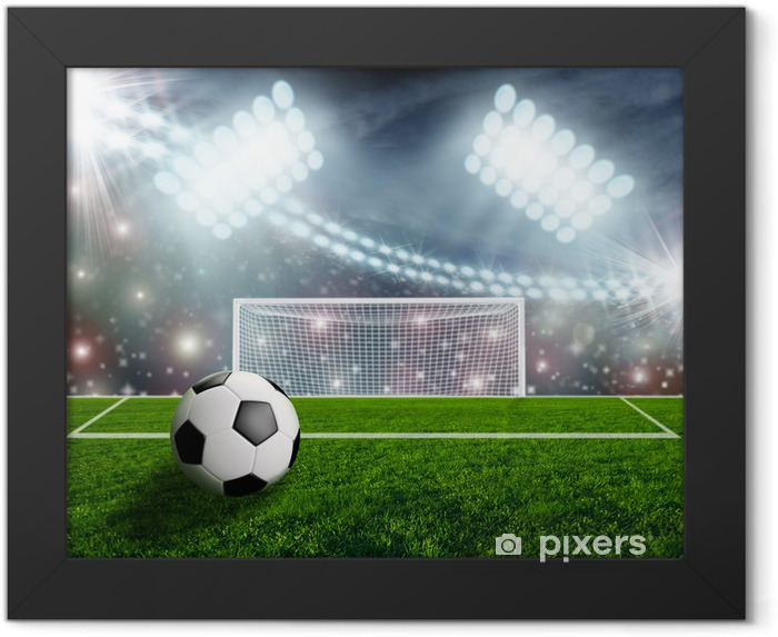 Soccer ball on green stadium arena Framed Poster - Success and Achievement