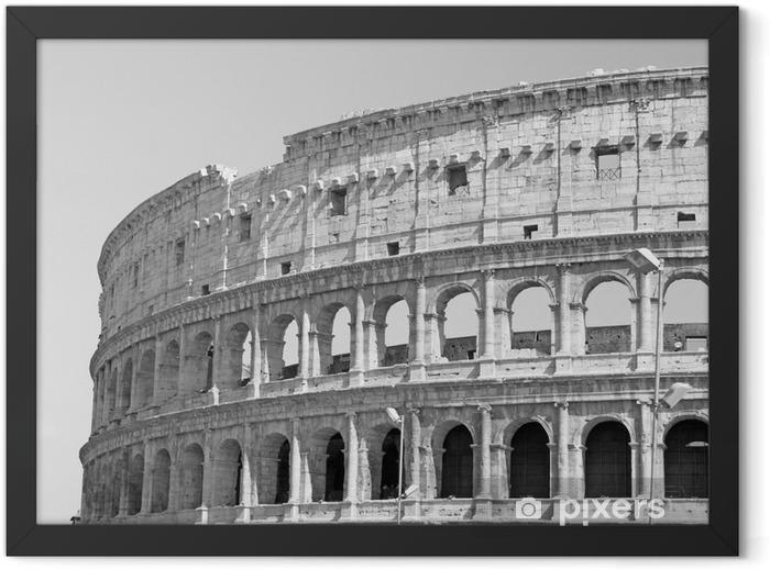 Plakat w ramie Czarno-białe zdjęcie wielkiego Koloseum w Rzymie w stylu retro - Podróże