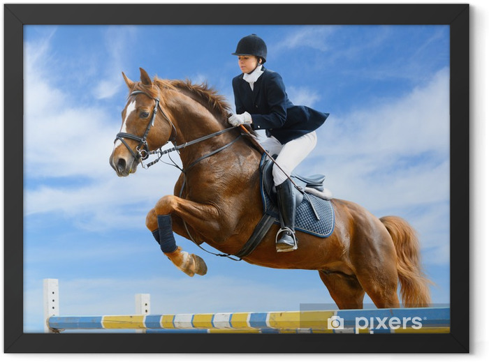 Equestrian jumper - Young girl jumping with sorrel horse Framed Poster - Individual Sports