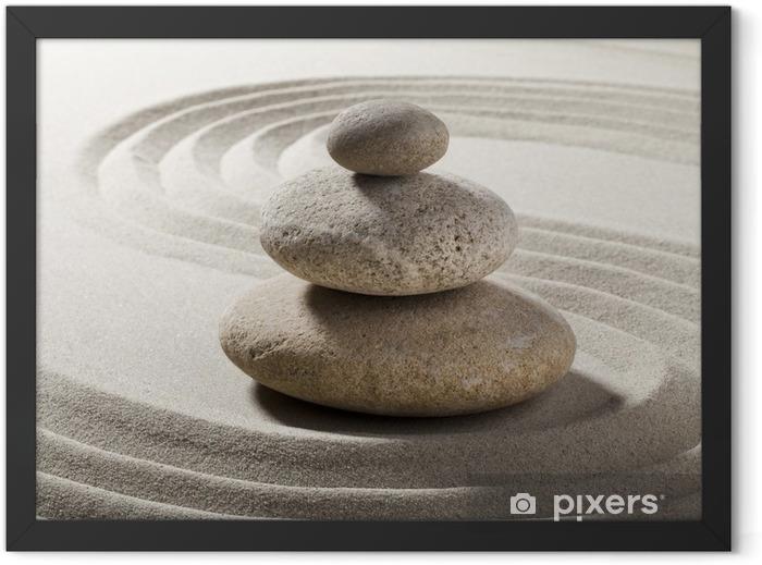 jardin zen avec sable et galets Framed Poster - Destinations