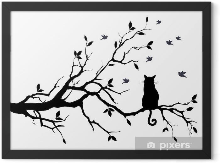 Poster en cadre Chat sur un arbre avec des oiseaux, vecteur - science &; nature