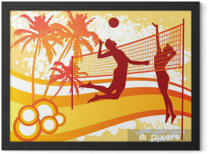 beach volley vector Framed Poster - Volleyball