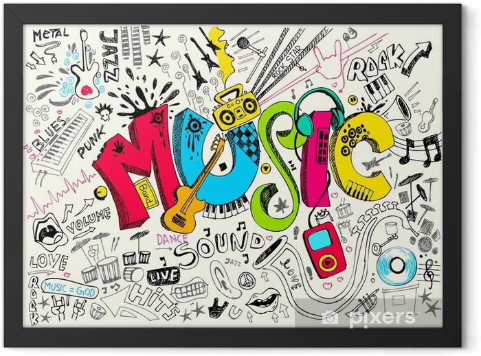 Music Doodle Framed Poster - Hip Hop