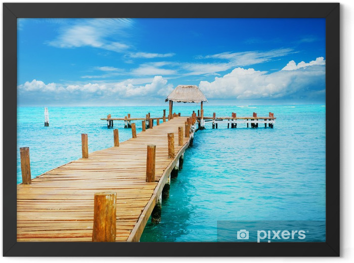 Vacation in Tropic Paradise. Jetty on Isla Mujeres, Mexico Framed Poster - Themes