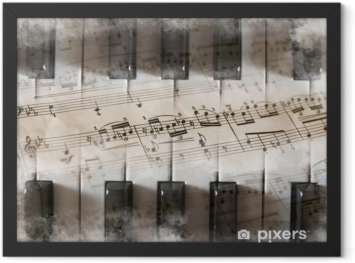 Piano, teclas, partitura, notas musicales Framed Poster - Piano