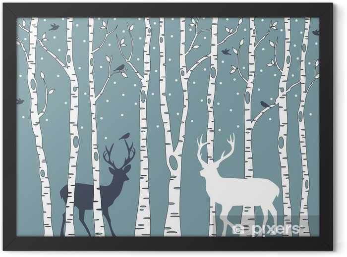 birch trees with deer, vector background Framed Poster - Styles