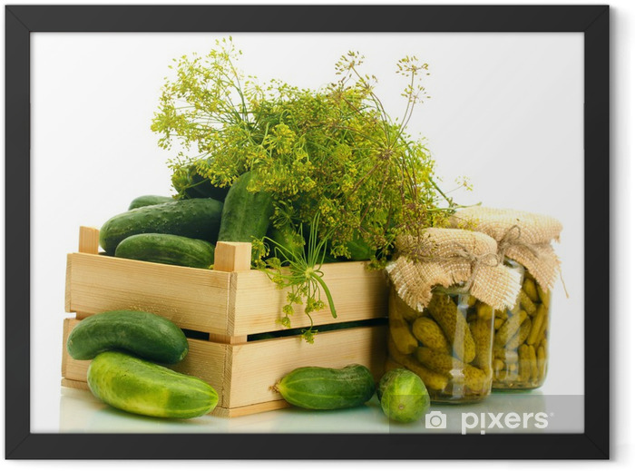 fresh cucumbers in wooden box, pickles and dill isolated Framed Poster - Themes