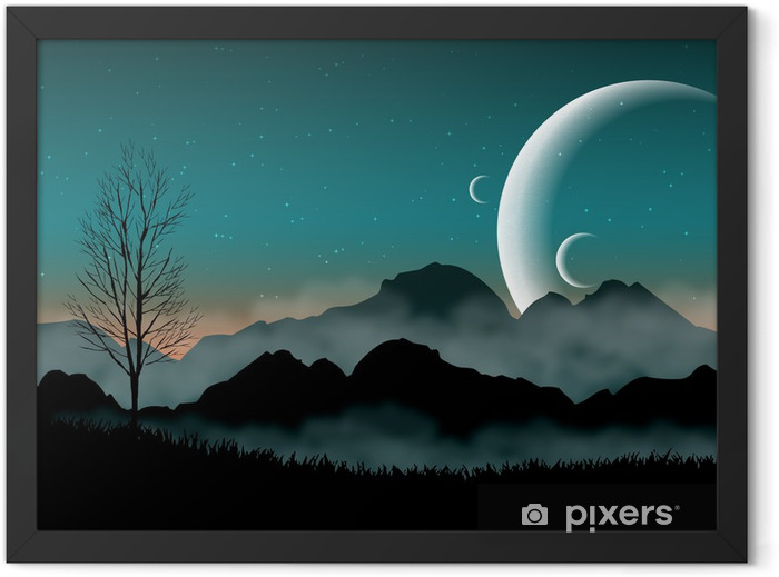 SF space night sky with silhouette mountains and close planets Framed Poster - Destinations
