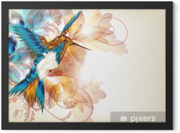 Plakat w ramie Kolorowe wektora projektu z realistyczną O kolibry i kwiatów -
