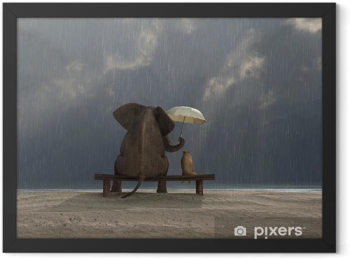 Poster en cadre Éléphant et chien de s'asseoir sous la pluie - Vie