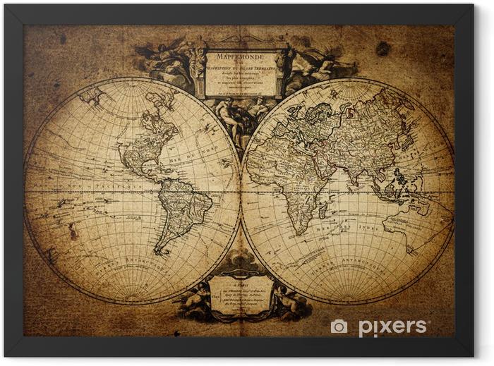 Plakat w ramie Mapa świata 1752 - Tematy