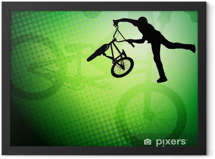Plakat w ramie Stunt BMX rowerzysta sylwetka na abstrakcyjnym tle - wektor - Kolarstwo