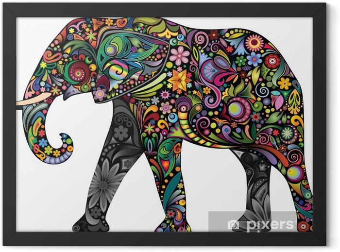 Plakat w ramie Wesoły słoń - Fikcyjne zwierzęta