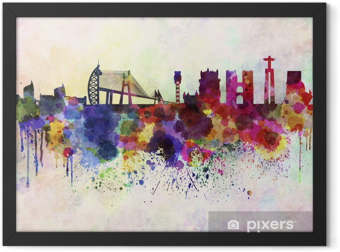 Lisbon skyline in watercolor background Framed Poster - Themes