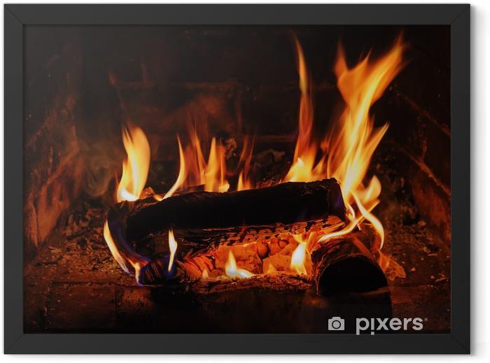 Poster en cadre Cheminée avec bois de bouleau et de la flamme. - Thèmes