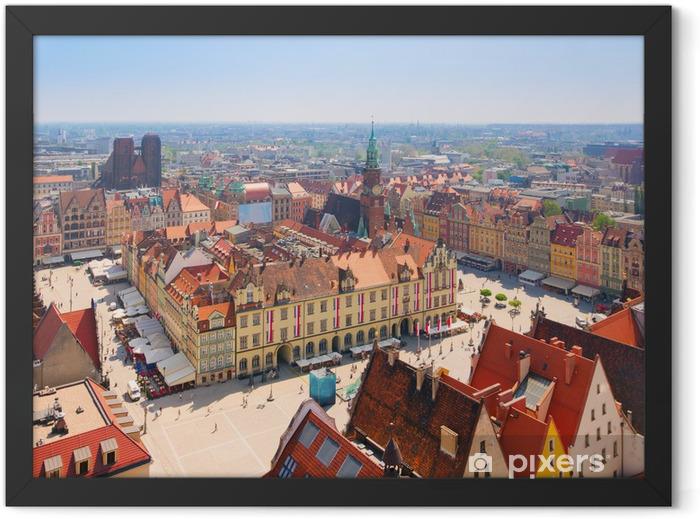 Poster en cadre Place de la vieille ville avec l'hôtel de ville, Wroclaw - Thèmes