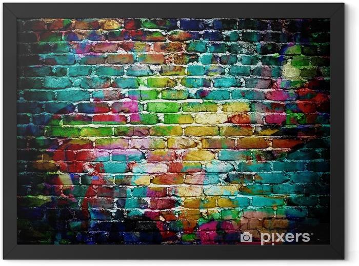 graffiti brick wall Framed Poster -