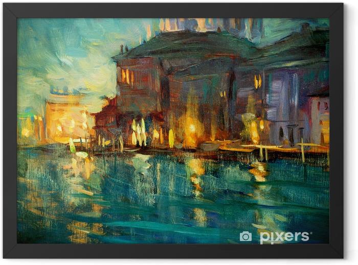 Plakat w ramie Nocny krajobraz z Wenecji, malarstwem przez olej na sklejce, Illustrat - Natura