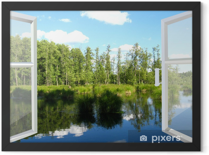 opened window to the summer field Framed Poster - iStaging