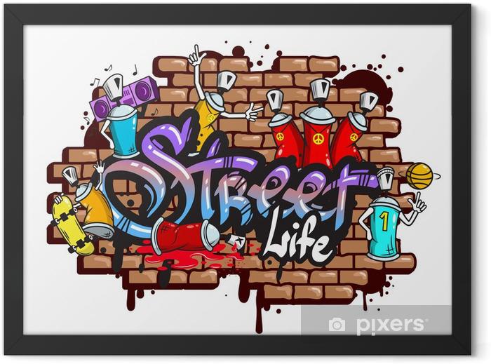 Plakat w ramie Graffiti znaki słowne skład - Naklejki na ścianę
