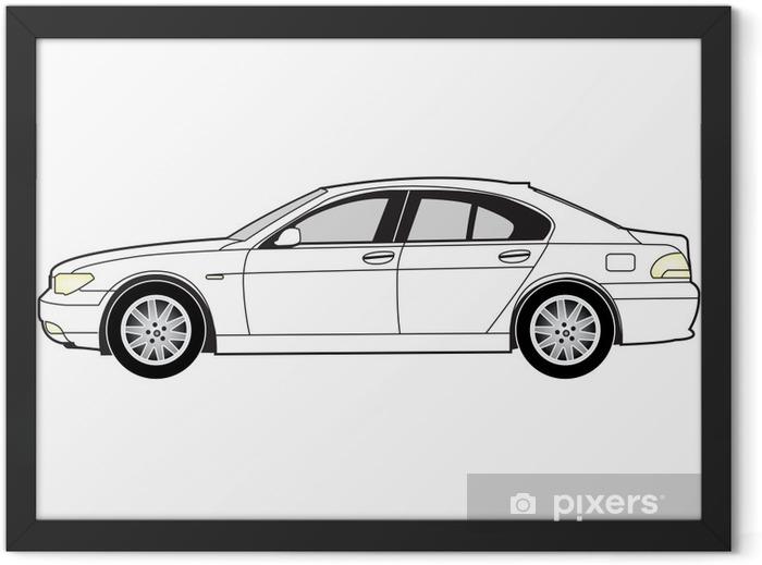 Line art - saloon car Framed Poster - Themes