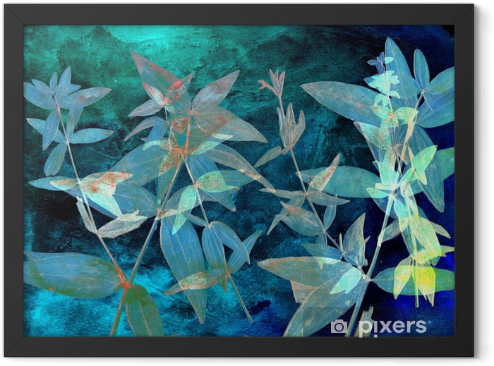 Plakat w ramie Abstrakcyjna Akwarele tła i gałęzi roślin. Różne środki przekazu - Zasoby graficzne