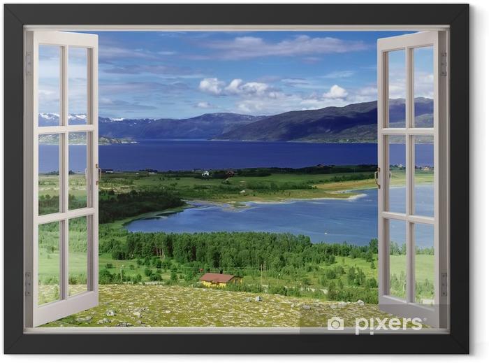 Plakat w ramie Otwórz okno widok na krajobraz z rzek, wzgórz i pól - Tematy