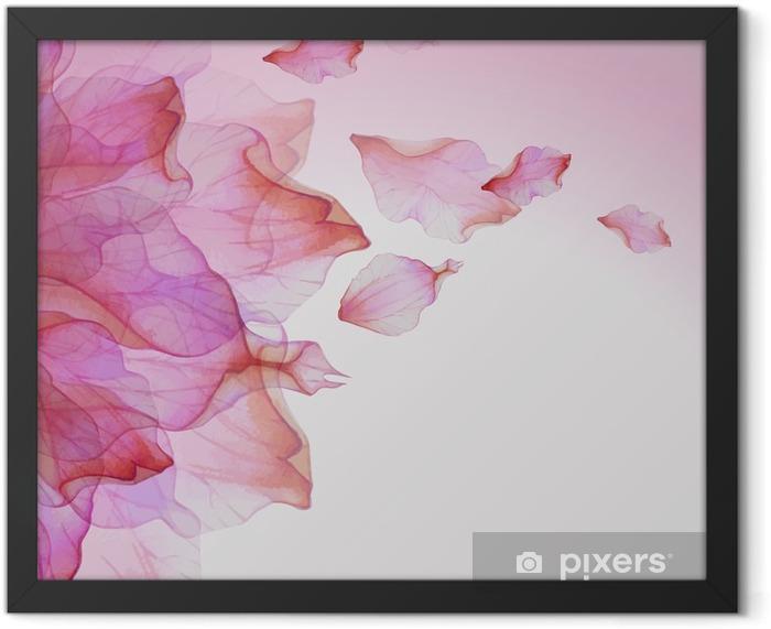 Plakat w ramie Akwarela kwiatowy wzór z płatkami - Rośliny i kwiaty