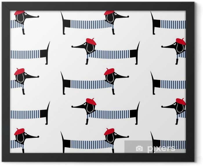 French style dog seamless pattern. Cute cartoon parisian dachshund vector illustration. Child drawing style puppy background. French style dressed dog with red beret and striped frock. Framed Poster - Mammals
