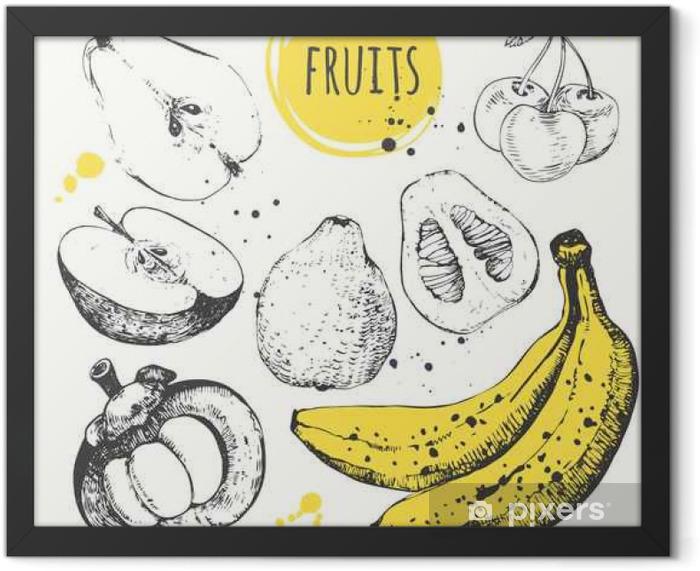 Plakat w ramie Banan, mangostan, jabłko, bergamotka. Ręcznie rysowane zestaw ze świeżą żywnością. - Jedzenie